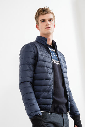 Quilted down jacket with high neck, Navy Blue, hi-res