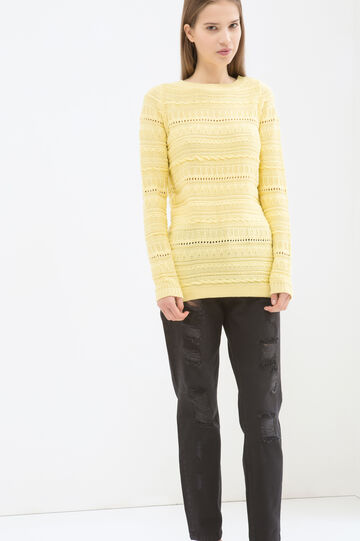 Cotton blend knitted pullover, Lemon Yellow, hi-res