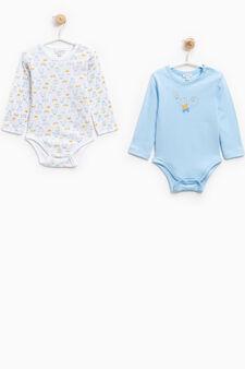 Two-pack animal pattern bodysuits, Light Blue, hi-res