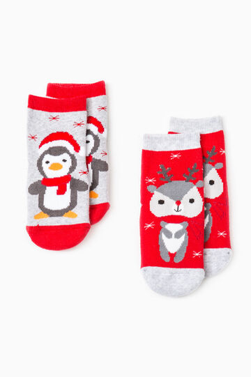 Two-pair pack embroidered slipper socks, Grey/Red, hi-res