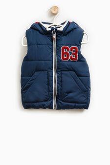 Padded waistcoat with hood, Navy Blue, hi-res