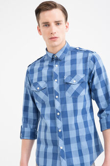 G&H check shirt in 100% cotton, Blue, hi-res