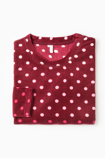 Polka dot fleece pyjama top., Claret Red, hi-res