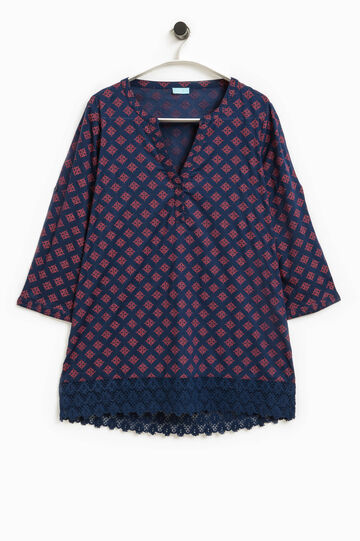 Patterned kaftan with lace, Blue/Red, hi-res
