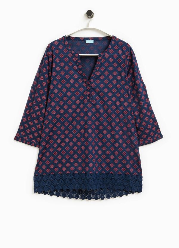 Patterned kaftan with lace | OVS