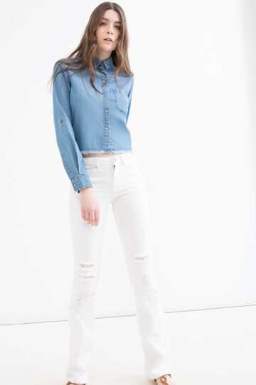 Short denim blouse with fringe, Denim, hi-res