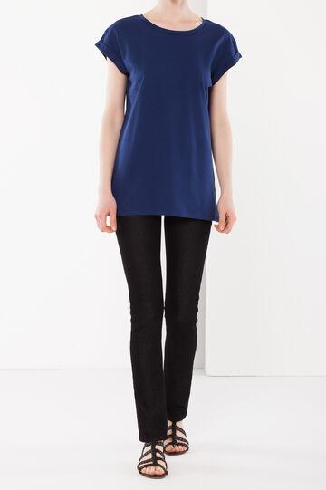 T-shirt con maniche risvoltate, Blu avio, hi-res
