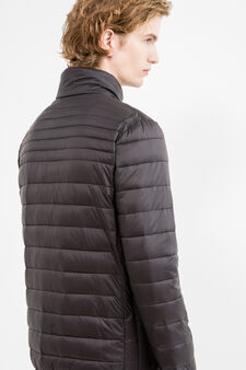 Quilted down jacket with high neck, Black, hi-res
