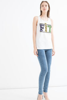 100% cotton top with print and sequins, White, hi-res