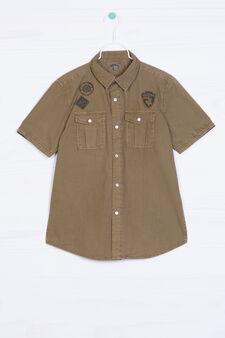 Camicia puro cotone patch applicate, Verde oliva, hi-res