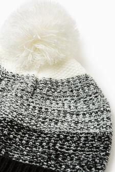 Knit beanie with pompom, Black, hi-res