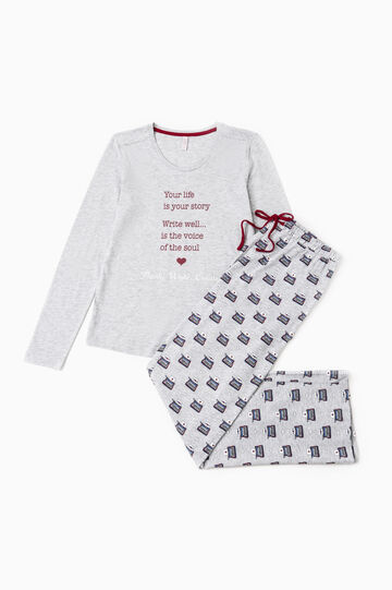 Crew-neck pyjamas, Grey Marl, hi-res