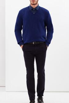 Pullover misto lana viscosa Rumford , Blu scuro, hi-res