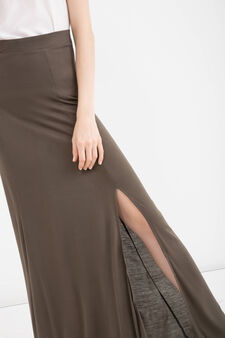 100% viscose long skirt, Army Green, hi-res