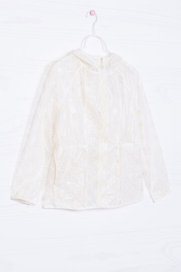 Wind breaker with embroidered tulle, Milky White, hi-res