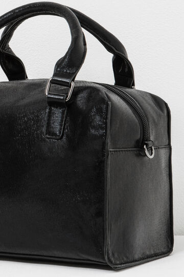 Glossy handbag with cross body strap, Black, hi-res