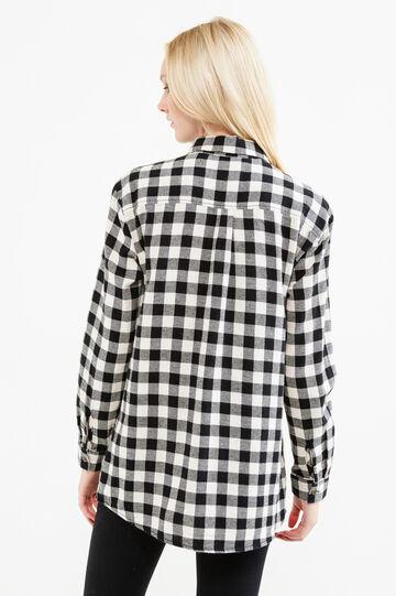 Camicia puro cotone fantasia a quadri, Bianco/Nero, hi-res