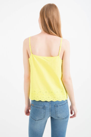Solid colour 100% cotton embroidered top, Acid Yellow, hi-res