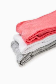 Set tre paia calze lunghe stretch, Rosa corallo, hi-res