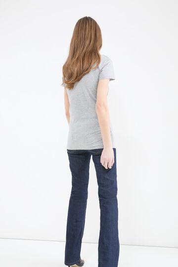 Cotton T-shirt with skull print, Grey Marl, hi-res