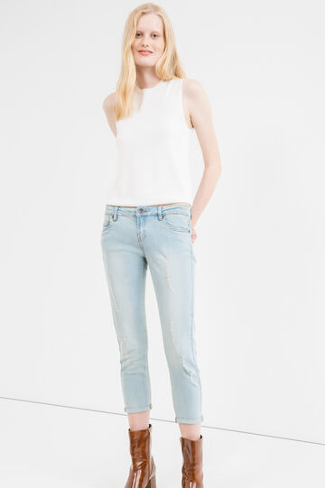 Cropped, skinny-fit stretch jeans with rips, Light Wash, hi-res