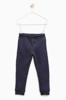 Pantaloni tuta cotone tinta unita, Blu, hi-res