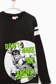 100% cotton T-shirt with Hulk print, Black, hi-res