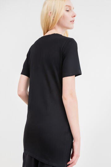 Long cotton T-shirt with studs, Black, hi-res