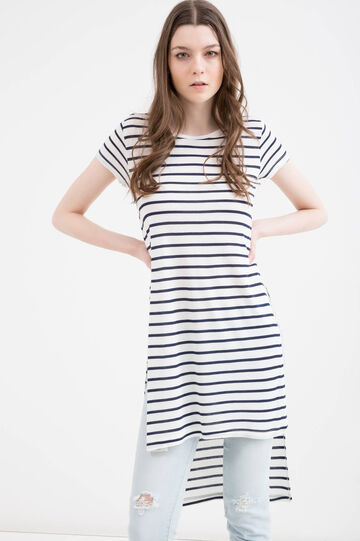 T-shirt in striped 100% viscose, Milky White, hi-res