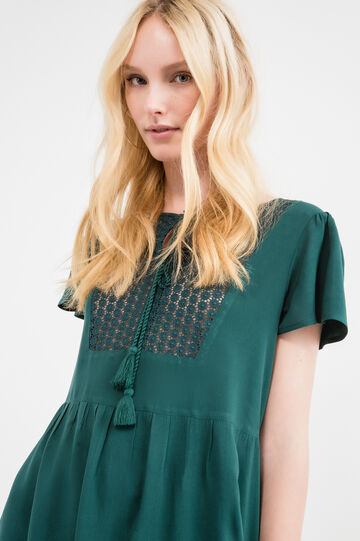 Short viscose dress with pleated skirt, Forest Green, hi-res