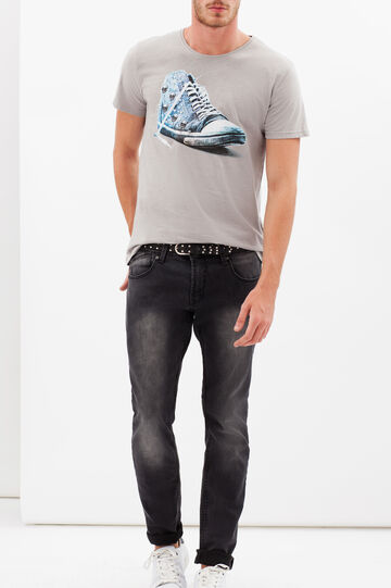 T-shirt with contrasting print, Ash Grey, hi-res