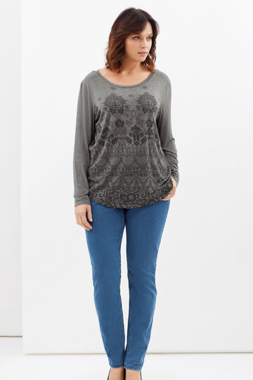 Curvy stretch damask T-shirt, Grey, hi-res