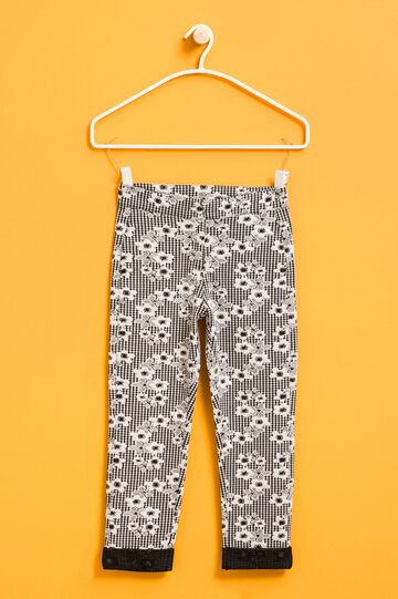 Stretch trousers with flower print