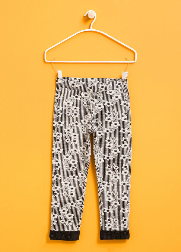 Stretch trousers with flower print | OVS