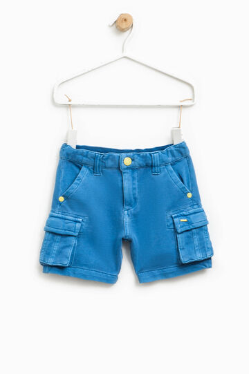 100% cotton shorts with zip, Cornflower Blue, hi-res
