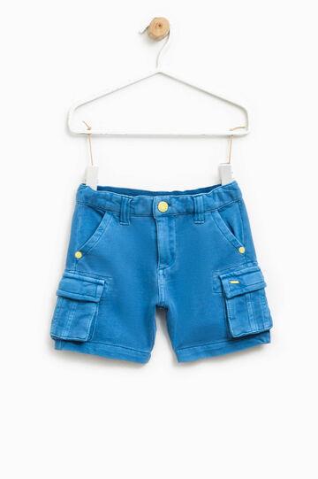 Pantaloncini puro cotone con zip, Blu bluette, hi-res