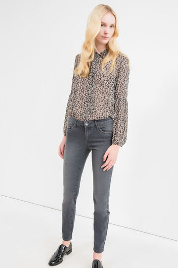 Faded, slim-fit stretch jeans, Grey, hi-res
