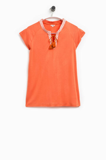 Camiseta con cuello de pico y borlas Smart Basic