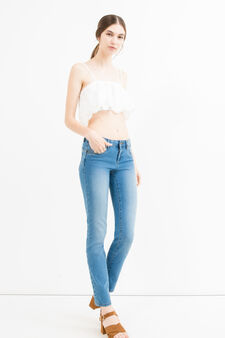 Slim-fit stretch jeans with fading, Medium Wash, hi-res