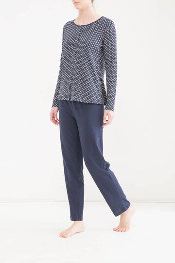 Patterned pyjamas in 100% cotton, Navy Blue, hi-res