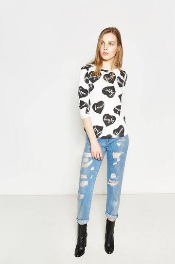 Heart patterned cotton sweatshirt, Milky White, hi-res
