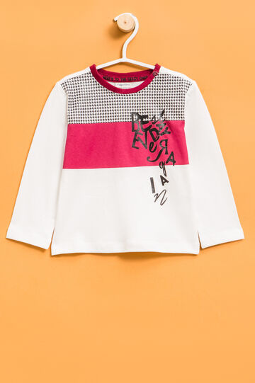 T-shirt with button on shoulder, White/Red, hi-res