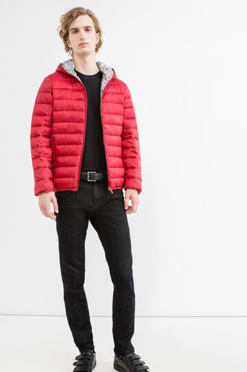Quilted down jacket with hood, Red, hi-res