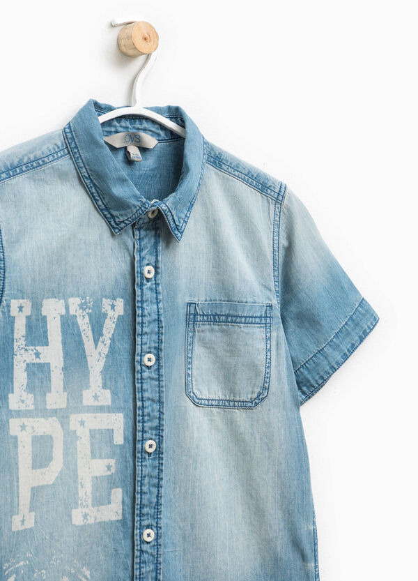 Denim shirt with lettering print | OVS