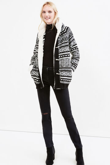 Knitted cardigan with geometric pattern, Black/White, hi-res