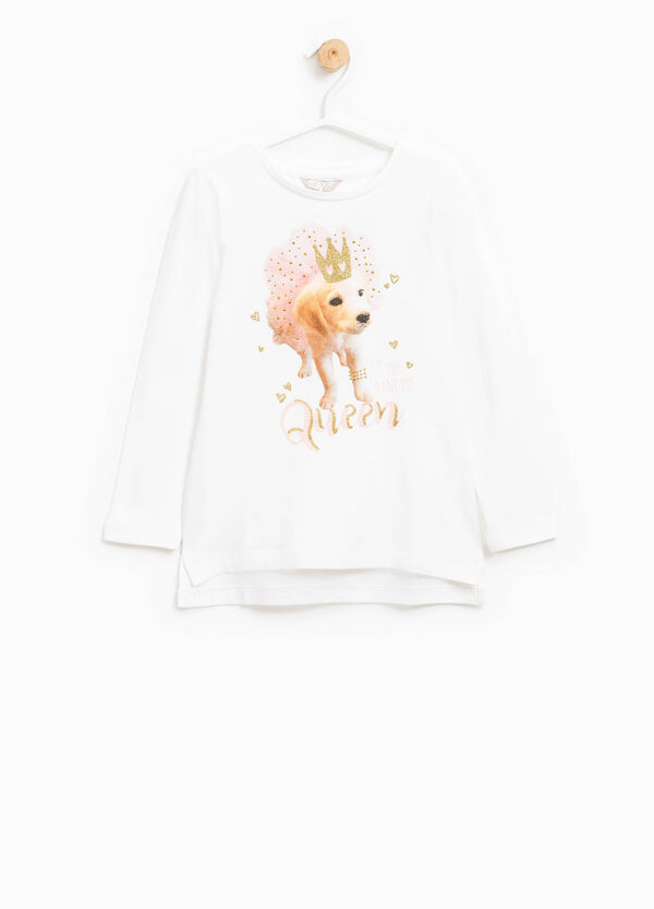 T-shirt with glitter print and diamantés | OVS