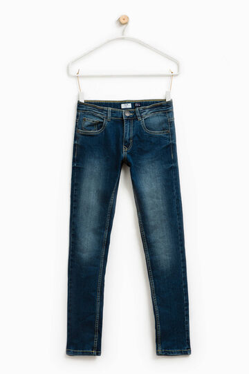 Faded effect slim-fit stretch jeans, Blue, hi-res
