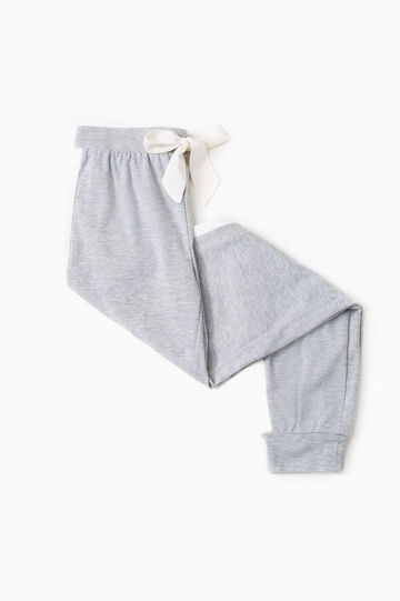 Pyjama trousers with contrasting bands, Grey Marl, hi-res