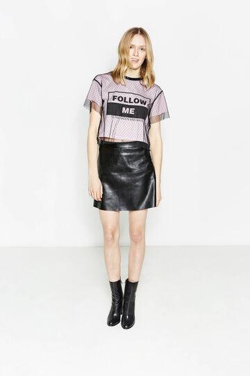 Mini skirt with elasticated waist, Black, hi-res