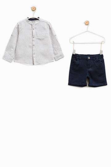 Shirt and Bermuda shorts outfit in cotton and linen, White/Blue, hi-res